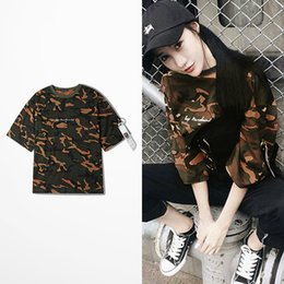 Wholesale Neck Tape - Camouflage Loose Hipster T Shirt For Man And Women Hip Hop Ma1 Fabric Tape Skateboard High Street T-shirt Men Army Camo Top Tee