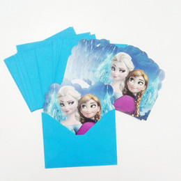 Wholesale Princess Party Theme Decorations - Wholesale-12pcs set Baby Shower Anna And Elsa Theme Birthday Party Invitation Card Elsa Anna Party Decoration Princess Party Supplies24