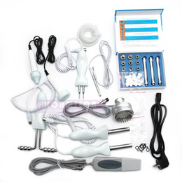 Wholesale Galvanic Scrubber - Microdermabrasion machine for skin peeling face lifting multifunction 5 in 1 with ultrasound+skin scrubber+galvanic+PDT+dermabrasion DHL Fre