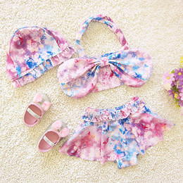 Wholesale Cherry Blossom Spring - Fairy Starry sky Girls Swimming Set Floral Butterfly Cherry Blossoms Swimwear girl Bathing Hot Spring Bow Swim Sets Two-Pieces Caps A6433