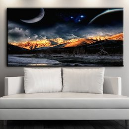 Wholesale Moon Mountains - ZZ1543 modern decorative canvas art moon night mountain landscape canvas picture oil art painting for livingroom bedroom