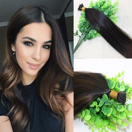Wholesale Brazilian I Tip Hair - 100Strands 100g set Pre-bonded Brazilian Remy Human Hair Extension I Stick tip Extension Balayage Ombre Dark Brown Highlight