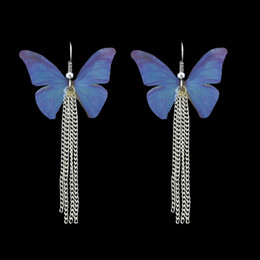 Wholesale Butterfly Dangle - Lovely Yellow Blue Purple Color Butterfly With Silver Color Link Chain Drop Earrings For Women Accessories Jewelry