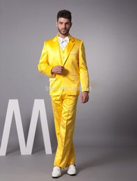 Wholesale Custome Made Suits - Wholesale- 2016New Year Hot Sale 20% off very popular custome made groom tuxedos Gun Collar Fashion Yellow Man's Wedding Suits Men suits