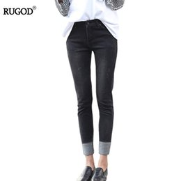 Wholesale Ladies Colored Pants - Wholesale- 2017 Women Summer Pants Casual Jeans Trousers For Ladies Spring Blue Black High Waist Skinny Pencil Denim Calf Length Jeans