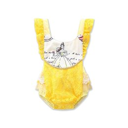 Wholesale Hot Girls Backless - Infants girls backless lace romper yellow lace splicing onesie princess printing romper for 1-3T ins hot baby summer clothing