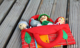 Wholesale Toy Story Bags Wholesale - Wholesale-Hot selling 4pcs lot little red riding hood baby story telling finger puppets with bag, kids children plush doll role play toys