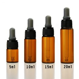 Wholesale Glass Amber Jars - 5ml 10ml 15ml 20ml Amber Glass Dropper Bottle Jars Vials With Pipette For Cosmetic Perfume Essential Oil Bottles F20171281