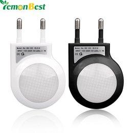 Wholesale Led Mini Ligh - Mini Auto on  off Night Lamp LED Light Built-in Ligh Sensor Control White Bedside Light EU Plug