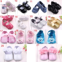 Wholesale Elegant Girls Shoes - 30 colors new arrivals soft sole kids Girl baby first walkers little girl princess shoes kids elegant shoes