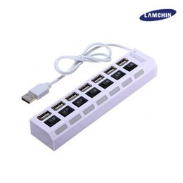 Wholesale Pc Power Switch Cable - 7 Ports USB2.0 Hubs with LED Switch Power Adapter Cjarger High Speed Power Cable for PC Desktop Notebook Laptop Computer with package