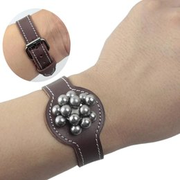 Wholesale Vintage Watch Leather Bracelet - Genuine Leather Vintage watch style Adjustable Slingshot Ammo Pouch Ring Magnetic Bobby Pin Bracelet Bobby Pins Holder