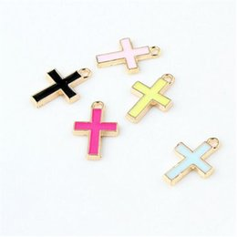 Wholesale Small Cross Charm Bracelet - Jewelry Finding Diy Cross 11*16MM Gold Small Cross Alloy Charms Wholesale Pendant Jewelry Accessories DIY Fit Bracelets Necklace Earrings