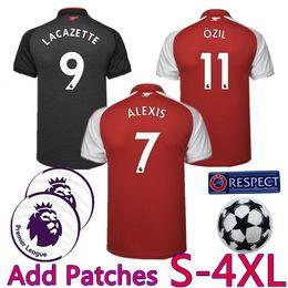 Wholesale Black Fats - Add Patches S-4XL Plus size Big Fat XXL XXXL XXXXL LACAZETTE 2017 2018 ALEXIS Soccer Jersey OZIL RAMSEY 17 18 red Football Shirt