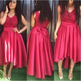 Wholesale Navy Ribbon Bow - 2017 Red High Low Bridesmaid Dresses V Neck Sleeveless Lace Custom Made Plus Size Tea Length Prom Dresses with Sashes Ribbon Bows 2K18