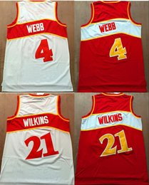 Wholesale Cheap Reds Jerseys - Cheap #4 Spud Webb jersey #21 Dominique Wilkins Red White Color throwback Basketball Jersey Embroidery Logos