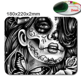 Wholesale Cloth Mouse - 220*180*2mm Day of the Dead Sugar Skull Girl Image Made for Rectangle Rubber Gaming Mouse Pad Mat Cloth Cover Non-slip Backing