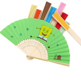 Wholesale Diy Paper Fan - 21cm Chinese DIY Hand Paper Folding Fans Pocket Folding Bamboo Fan Wedding Favor Party Gifts DHL Free Shipping