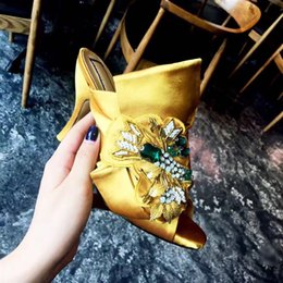Wholesale Knotted Sandal - Summer satin Crossover Sandal Mules big Butterfly Knot and bead crystal decor thin High Heel Sandals Womens Slipper Salto Alto Fashion Flats