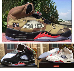 Wholesale Camo Lycra Men - High Quality Retro 5 SUP Camo Black White Mens Basketball Shoes 5s Sup With Shoe Box