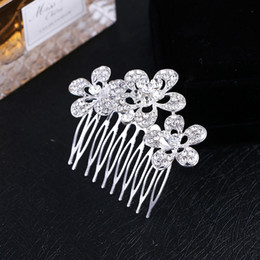 Wholesale Diamond Tiara Silver - New Arrival Womens Crystal Rhinestone Hair Comb Tiara Silver Three Stereo Flowers Bling Hair Comb Jewelry Prom Wedding Accessories Hot Sale