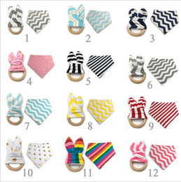 Wholesale Wooden Teething Rings Wholesale - Baby Bibs Teething Ring Teeth Stick Infant Burp Cloths Bamboo Fiber Teething Ring Gold Dot Wooden Teething Training 2pcs Sets 12 Styles M10