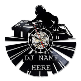Wholesale Music Vinyl Wall Art - DJ Gift Wall Decor Vinyl Record Clock Art Home Design Music