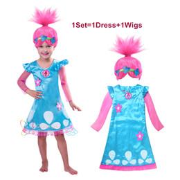 Wholesale Blended Color Wigs - Trolls Cosplay Clothes Dress+Wigs Set Trolls Dress For Girls Party Skirt Net Yarn Sleeve For Girls Summer Dress Girls Cosplay Skirt LA385