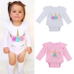 Wholesale Winter Clothes For Infants - Toddle unicorn print Romper Infant Girl Lovely long sleeve Clothes with Ruffles shoulder jumpsuits for 0-2T
