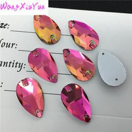 2019 schemi di trasferimento di ferro liberi Droplet Sew On 2HOLES Pietre di cristallo per cucire Pietre di cristallo Arcobaleno per abito da sposa Decorazione, 7x12mm 10.5x18mm 13x22mm 17x28mm 22x38mm