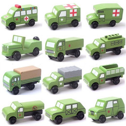 Wholesale wooden military toys - 12 PCS  Set Wooden Military Vehicle Model Cool Toys Educational Baby Kids Boy Toys Cars Gifts Simulate Mini Medical Diecasts