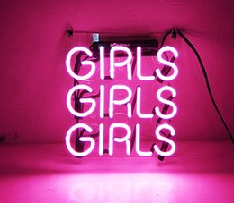 """beste neon bar leuchten Rabatt Bier Neon Sign Pink Girls für Home Schlafzimmer Pub Hotel Strand Freizeit Spielzimmer Dekor 12 """"x 9,8"""""""