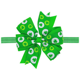 Wholesale Green Day Hair - St. Patrick's day hairbow   St Patty's Day Hair Bow   green and white color bow  headband also available