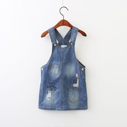 Wholesale Denim Lace Girls Suspenders - Everweekend Girls Cat Giraffe Embroidered Denim Suspender Dress Sweet Baby Button Pocket Fall Clothing