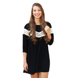 Wholesale Slim Look Dress - 2016 Women Dress Large Size Lace Hollow Out Panelled Loose Look Slimmer Chiffon Casual Black Dress S M L XL