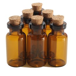 Wholesale glass message bottles - Wholesale- 5pcs lot 2ml Small Brown Empty Wishing Glass bottle Drifting Bottle Message Vial With Cork Stopper Vials Jars Containers