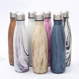 Wholesale Insulated Sports Bottles - 17oz 500ml Wood Grain Cola Water Bottle Double Wall Stainless Steel Vacuum Insulated Coke Sports Water Bottles