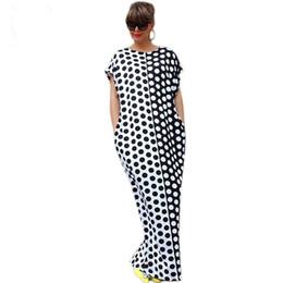 cab56c30bae Плюс Размер Бохо Летнее платье с коротким рукавом O-образным вырезом Длинные  платья Maxi Черный белый Polka Dot Печатное сексуальное пляжное платье