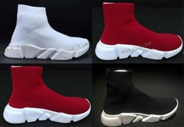 Wholesale Designer Sock - Fashion Woman Mens Mid Casual Sports Shoes Speed Trainers Stretch-knit Sock Sneakers New Designer Men Women Black Red White Running Shoes