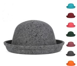 Wholesale Women Christmas Stocking - 5pcs lot hot women's girl's Solid color 8 colors autumn winter pure wool hat Dome small hat cap Ladies top hats 56-58cm in stock drop ship