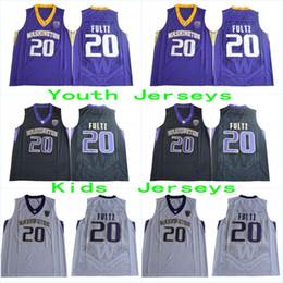 Wholesale Player Style - Youth #20 Markelle Fultz Kids Purple White Black Washington Huskies 20 Jersey 2017 New Style Stitched With Player Name Jerseys Free Shipping