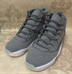 Wholesale Cool Shoes For Sale - 2016 Hot Retro 11 PRM Cool Grey Suede White 11s Mens GS Basketball shoes Men Women Heiress Velvet Red Gold Sneakers For Sale
