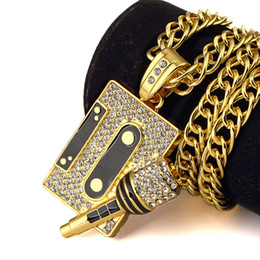 Wholesale Microphone Necklace Jewelry - Fashion Hip Hop Jewelry For Men Crystal Magnetic Tape Microphone Pendants Necklaces Hiohop Mens Long Cuban Chain Gold Plated Necklace