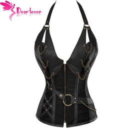 Wholesale Sexy Lingerie 4xl - bustiers & corsets corselet Women Brown Brocade Steampunk Corset Top With G-string LC5313 plus XXL sexy lingerie set 17410