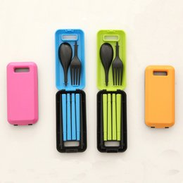 Wholesale One Piece Combination - Wholesale- Three-Piece Portable Tableware Sets With Folding Combination Spoon Fork Chopsticks Bento Lunch Box Tableware Kitchen Tools
