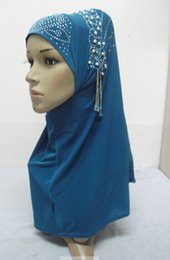 Wholesale Scarf Assorted - Wholesale- H849 muslim one piece hijab scarf with stones and beads,assorted colors