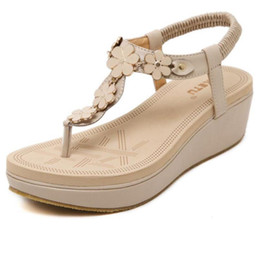 Wholesale Wedge Thongs - 2017 New Korean Elastic Belt Buckle Slope With Sandals Shoes Thong Sandals Women Shoes PU Leather Flat Sandals