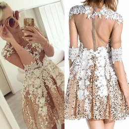 Wholesale Silver Design Sequin Cocktail Dress - Bling Glitz Gold Sequins with Appliques Short Homecoming Dresses New Designed 2017 Sheer Backless Half Sleeves Illusion Cocktail Prom Gowns