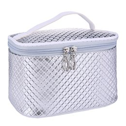Wholesale Euro Style Bag - Wholesale- Travel Beautician Bag Women Men Cosmetic Bag Organizer Makeup Case Euro Style Waterproof Makeup Bag Professional Silver Gold