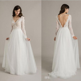 Wholesale Sheer Ankle Length Robe - Robe de Mariage Vintage Western Country Lace A Line Ivory Wedding Dresses Long Sleeve with Lace Bohemian Wedding Dress